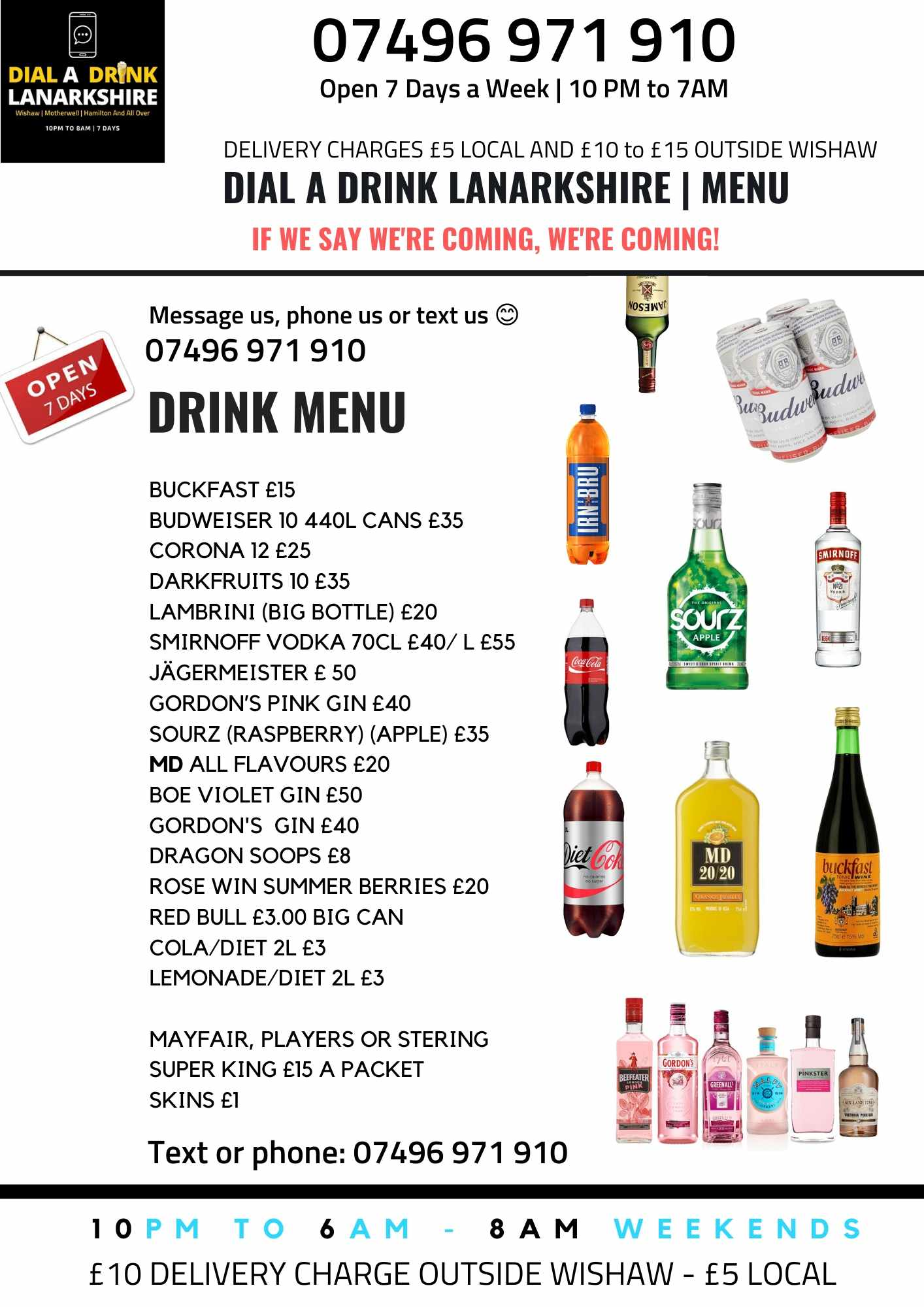 Dial a Drink Menu for North and South Lanarkshire
